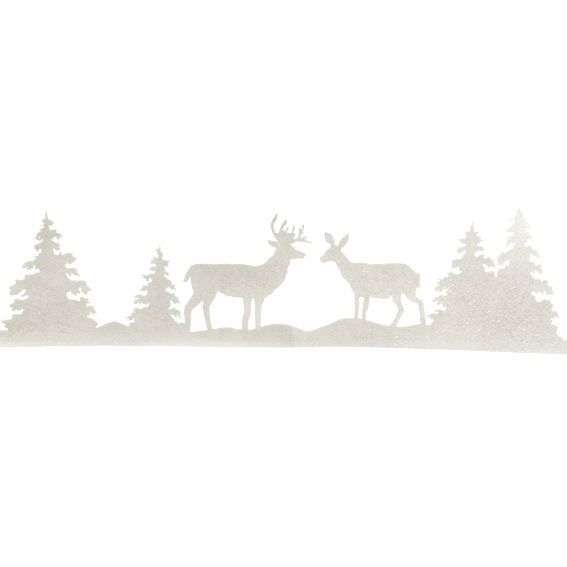 D cor de no l pour fen tre cerf guirlande et rideau de for Decoration fenetre noel blanc