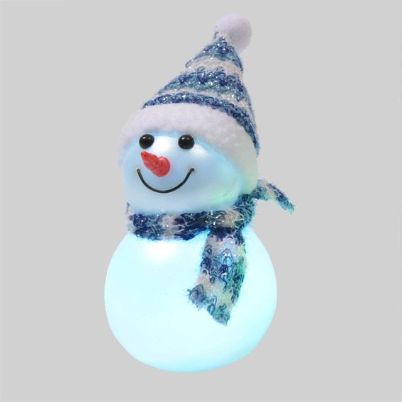 Bonhomme de neige lumineux james bleu d co de table - Bonhomme de neige en pompon ...