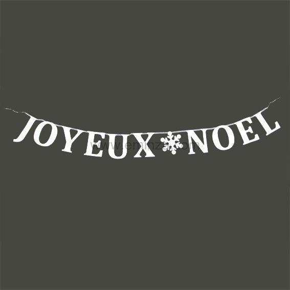 Guirlande de fen tre joyeux no l blanc guirlande et rideau de fen tre eminza - Guirlande joyeux noel ...