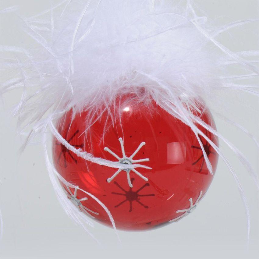 Lot de 3 boules de no l d80 mm plumes rouge boule de - Boule de noel rouge et blanche ...