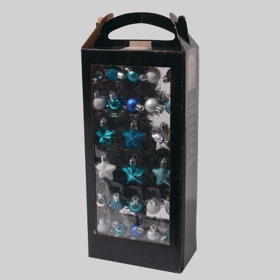 Kit de d coration pour mini sapin de no l alaska bleu for Mini sapin de noel decore