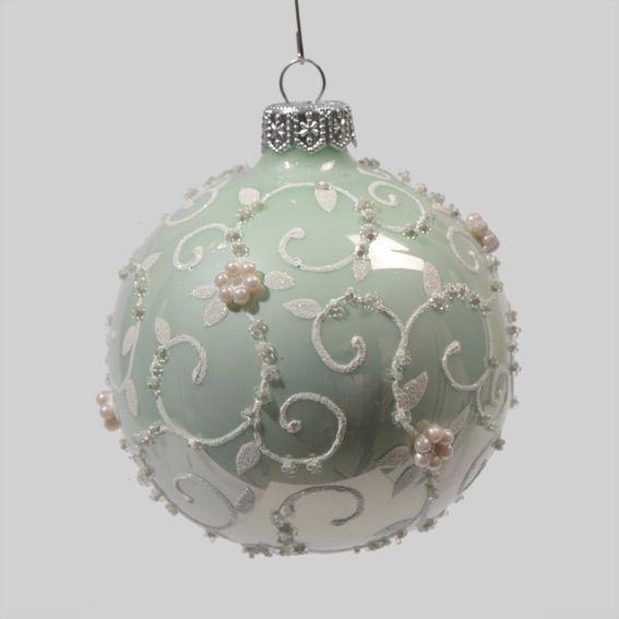 assortiment de 6 boules de no l en verre glamour vert boule de no l eminza. Black Bedroom Furniture Sets. Home Design Ideas