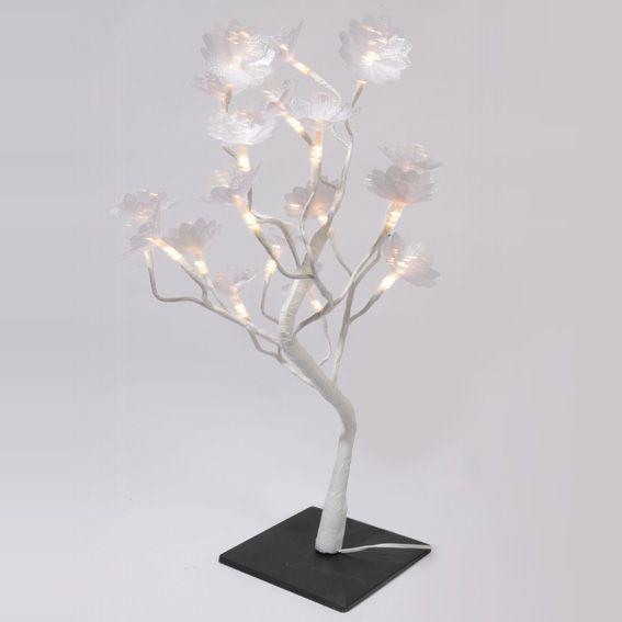 Cerisier lumineux de table fleuri h50 cm blanc chaud for Centre de table lumineux