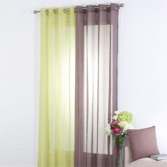 voilage 140 x h240 cm silya taupe voilage eminza. Black Bedroom Furniture Sets. Home Design Ideas
