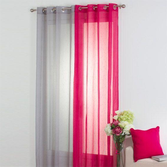 voilage 140 x h240 cm silya framboise voilage eminza. Black Bedroom Furniture Sets. Home Design Ideas
