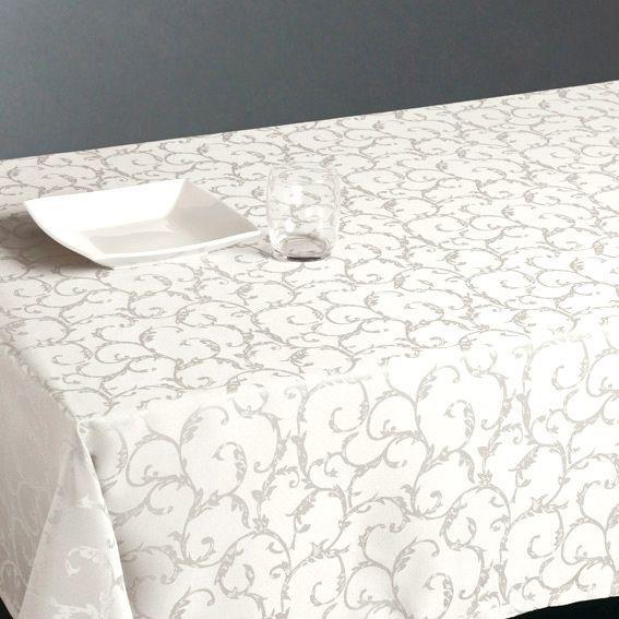 Nappe rectangulaire l300 cm jacquard ivoire nappe de table eminza - Nappe de table rectangulaire ...