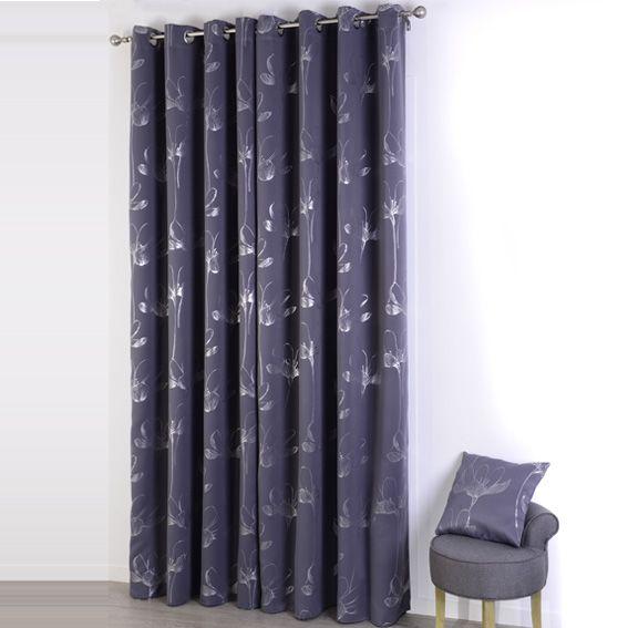 rideau occultant 140 x h260 cm floralis gris rideau occultant eminza. Black Bedroom Furniture Sets. Home Design Ideas