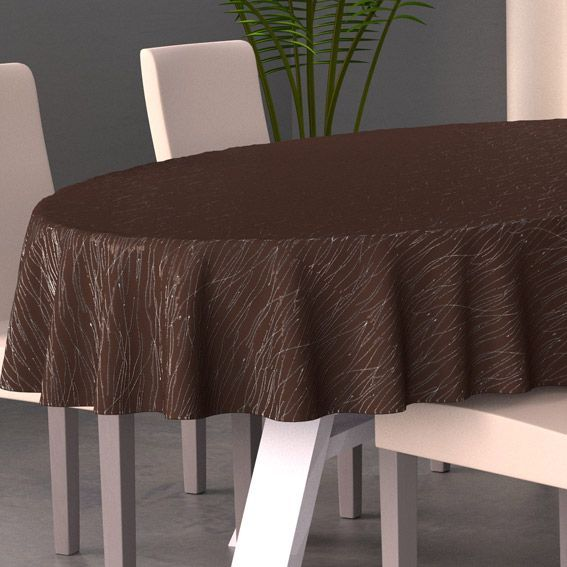 nappe ovale l230 cm glitter chocolat nappe de table eminza. Black Bedroom Furniture Sets. Home Design Ideas