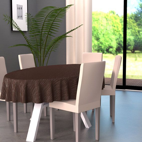 nappe ovale l230 cm glitter chocolat nappe de table eminza. Black Bedroom Furniture Sets. Home Design Ideas