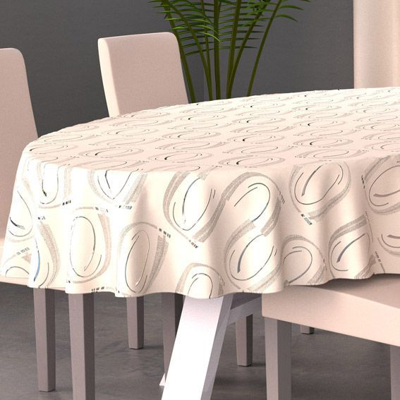 Nappe ovale l230 cm jade beige nappe de table eminza - Set de table ovale ...