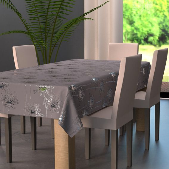 nappe rectangulaire l240 cm emma gris nappe de table. Black Bedroom Furniture Sets. Home Design Ideas