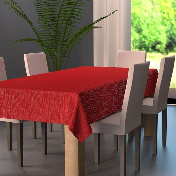 nappe rectangulaire l240 cm glitter rouge linge de table eminza. Black Bedroom Furniture Sets. Home Design Ideas