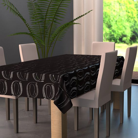 nappe rectangulaire l240 cm jade noir nappe de table. Black Bedroom Furniture Sets. Home Design Ideas
