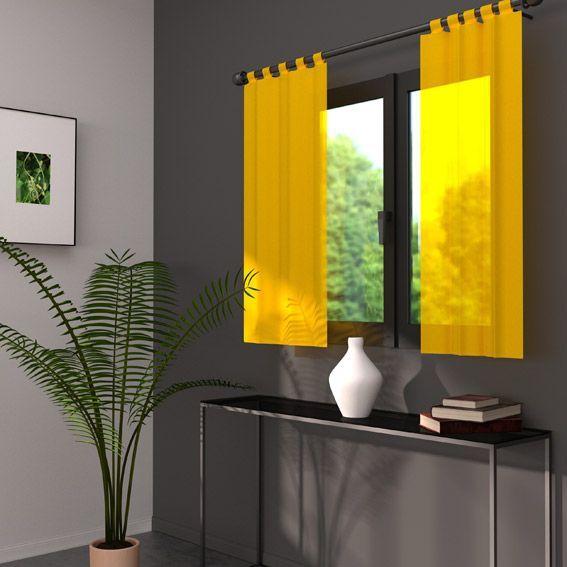 paire de voilage 90 x h90 cm lido jaune rideau et voilage eminza. Black Bedroom Furniture Sets. Home Design Ideas