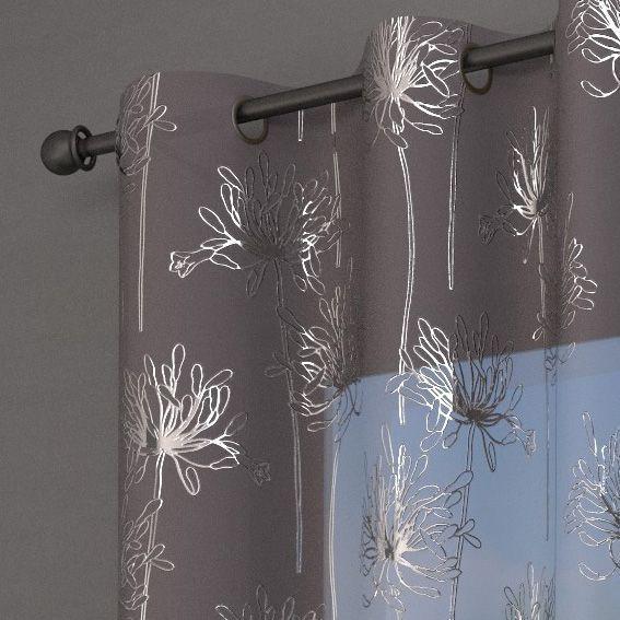 voilage 140 x h240 cm emma gris voilage eminza. Black Bedroom Furniture Sets. Home Design Ideas
