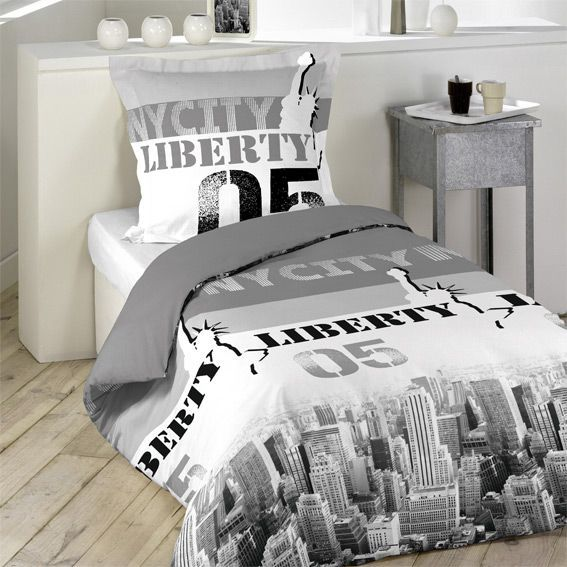housse de couette et une taie 140 cm liberty skyline. Black Bedroom Furniture Sets. Home Design Ideas