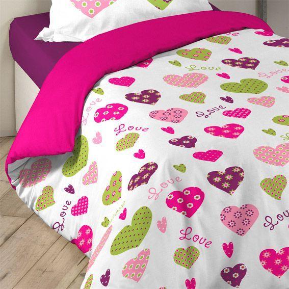 housse de couette et une taie joli coeur housse de couette eminza. Black Bedroom Furniture Sets. Home Design Ideas