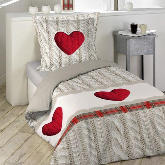 Housse de couette et une taie 140 cm coeur de laine for Housse de couette coeur