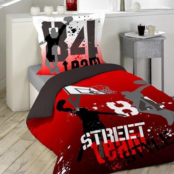 housse de couette et une taie 140 cm basketball housse. Black Bedroom Furniture Sets. Home Design Ideas