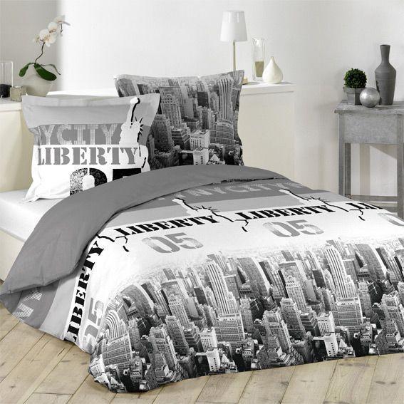 housse de couette et deux taies 240 cm liberty skyline. Black Bedroom Furniture Sets. Home Design Ideas