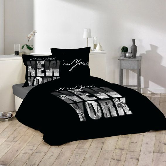 housse de couette et deux taies 240 cm ny style noir housse de couette eminza. Black Bedroom Furniture Sets. Home Design Ideas