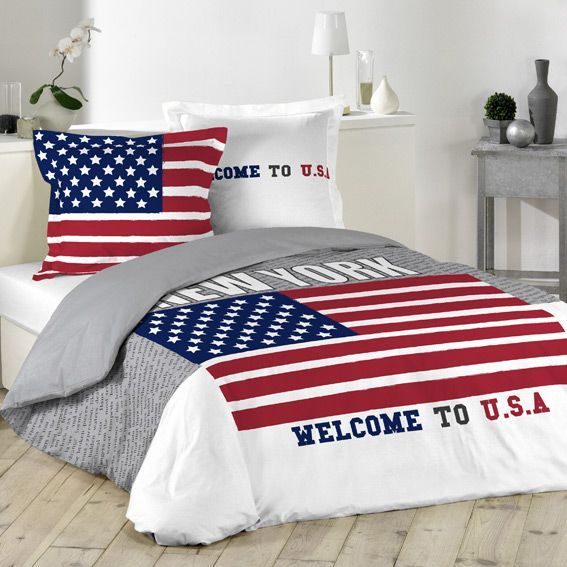 Charmant Housse De Couette Usa #7: Housse De Couette Et Deux Taies (200 Cm) Welcome USA
