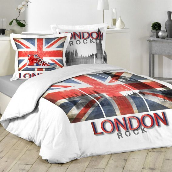 parure de lit 2 places motif rock london. Black Bedroom Furniture Sets. Home Design Ideas
