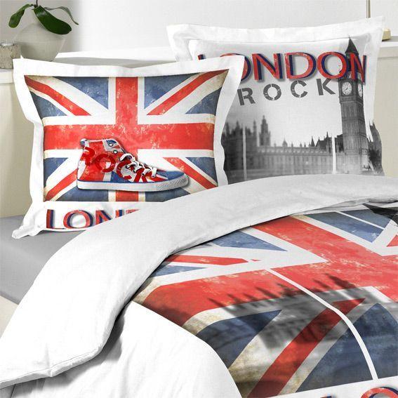 housse de couette et deux taies 240 cm london rock housse de couette eminza. Black Bedroom Furniture Sets. Home Design Ideas