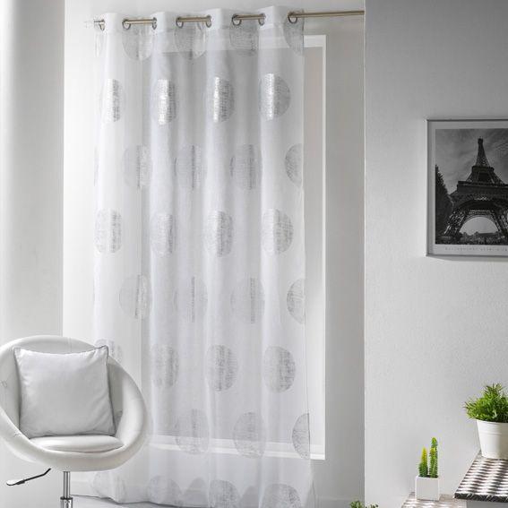 voilage x h cm platine blanc with bon prix voilage. Black Bedroom Furniture Sets. Home Design Ideas