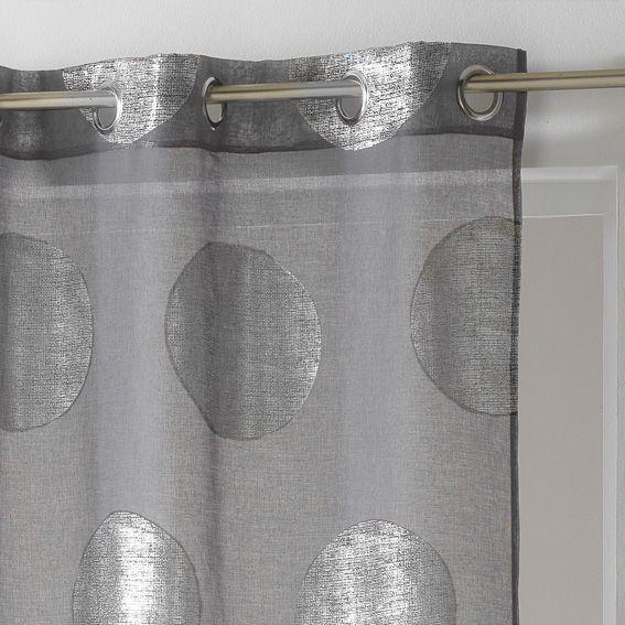 voilage 140 x h240 cm platine gris voilage eminza. Black Bedroom Furniture Sets. Home Design Ideas
