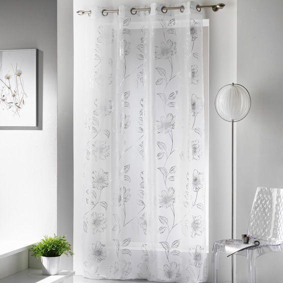 voilage 140 x h240 cm celia argent voilage eminza. Black Bedroom Furniture Sets. Home Design Ideas