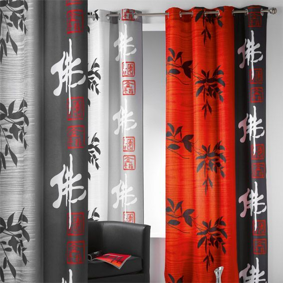 rideau 140 x h260 cm tao rouge rideau tamisant eminza. Black Bedroom Furniture Sets. Home Design Ideas