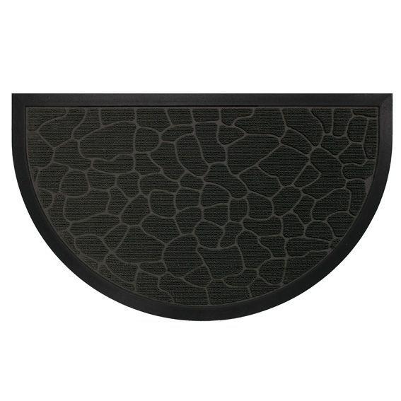 Tapis d 39 entr e demi lune galets noir tapis pour la for Tapis de cuisine demi lune