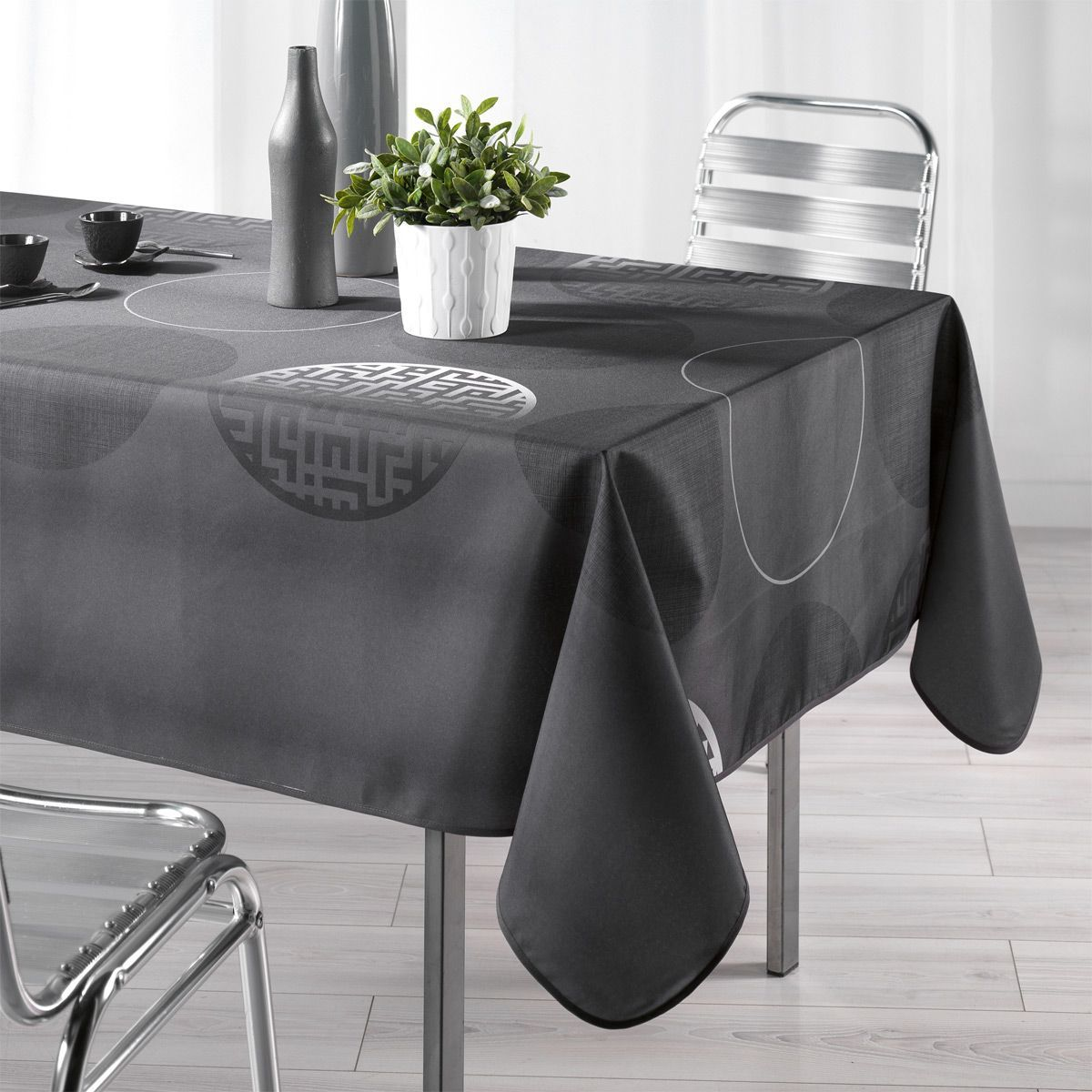 Nappe rectangulaire l240 cm kosmo anthracite nappe de table eminza Linge de table luxe