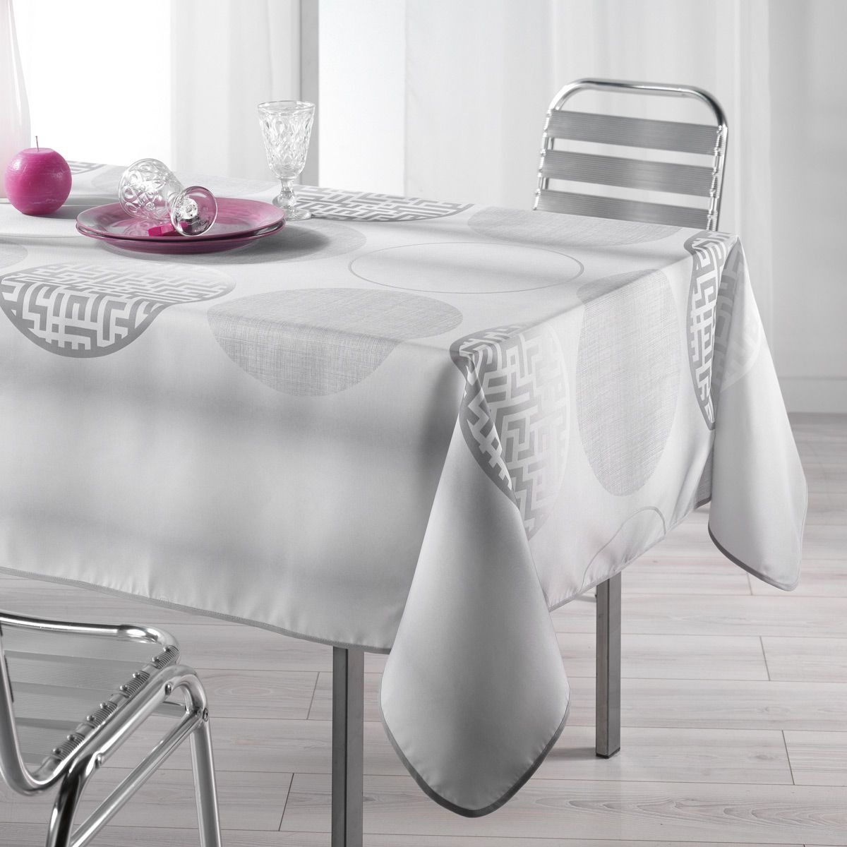 nappe rectangulaire l240 cm kosmo gris nappe de table eminza. Black Bedroom Furniture Sets. Home Design Ideas