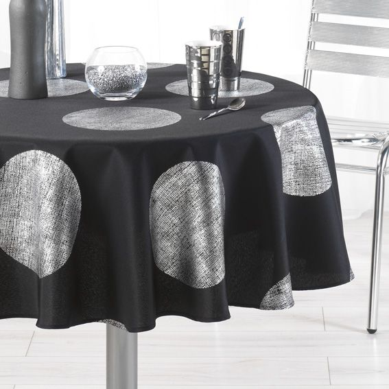 nappe ronde d180 cm platine noir nappe de table eminza. Black Bedroom Furniture Sets. Home Design Ideas