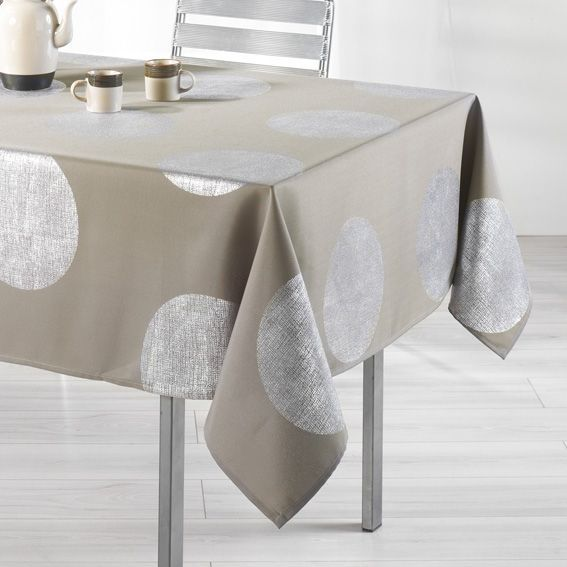 nappe rectangulaire l240 cm platine taupe nappe de table eminza. Black Bedroom Furniture Sets. Home Design Ideas