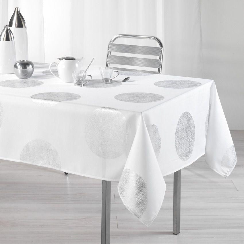 nappe rectangulaire l240 cm platine blanc nappe de. Black Bedroom Furniture Sets. Home Design Ideas