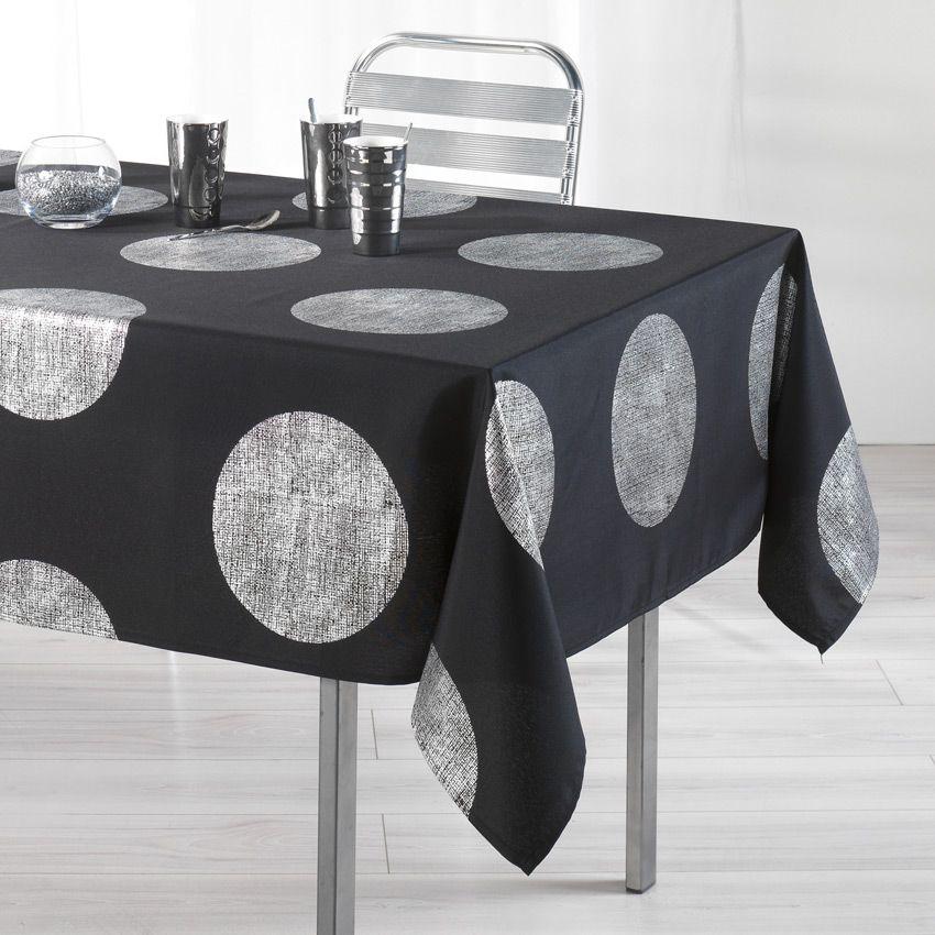 Nappe rectangulaire l240 cm platine noir nappe de - Nappe de table rectangulaire ...