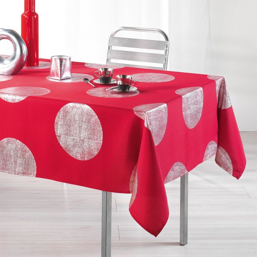 nappe rectangulaire l240 cm platine rouge nappe de table eminza. Black Bedroom Furniture Sets. Home Design Ideas