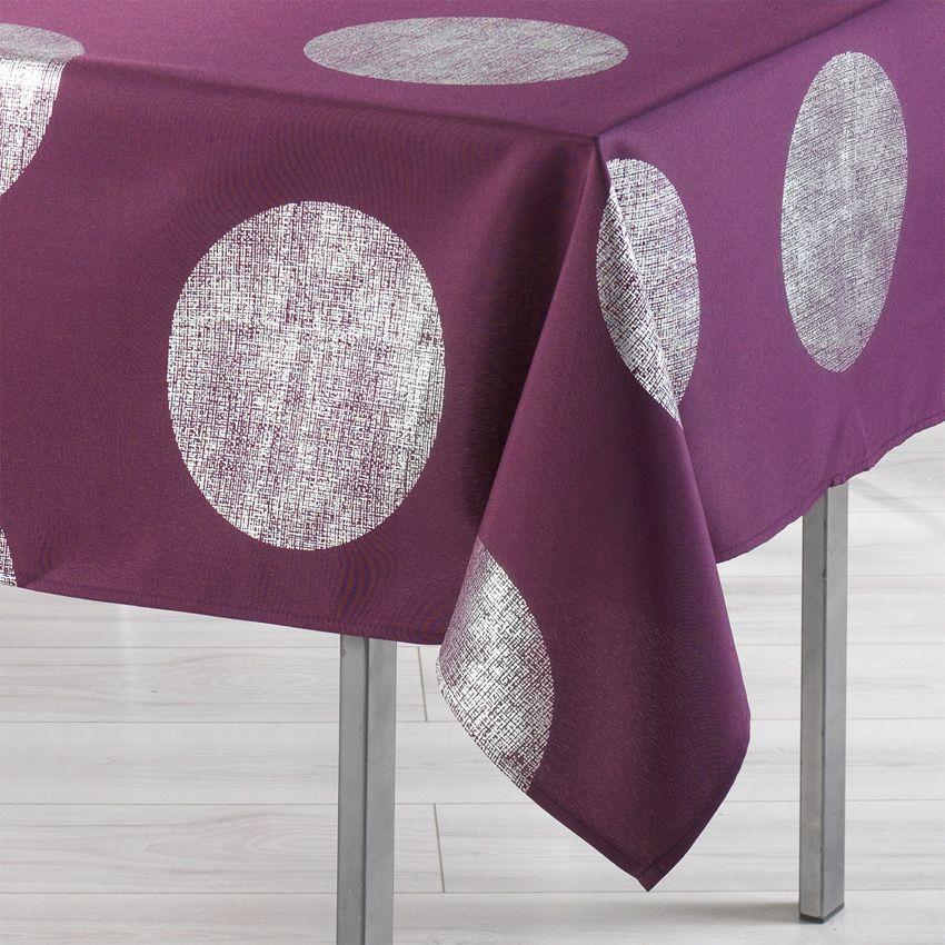 Nappe rectangulaire l240 cm platine prune nappe de - Nappe table rectangulaire ...