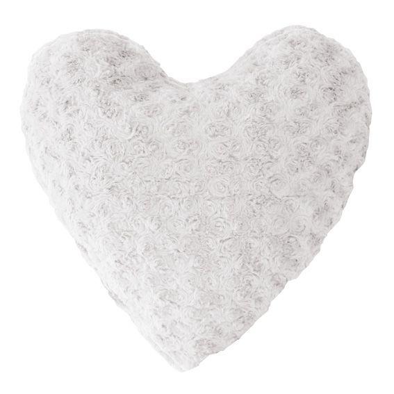 linge de maison coussin douceur coeur himalaya blanc