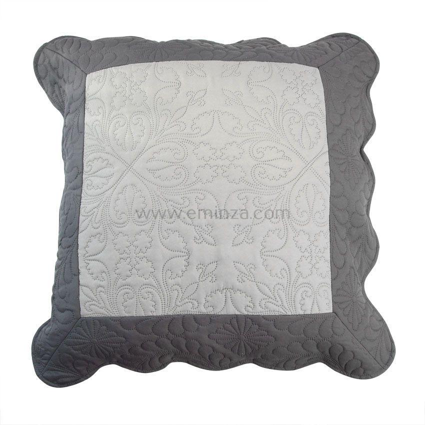 Housse de coussin boutis 60 cm emma gris anthracite for Housse de coussin gris