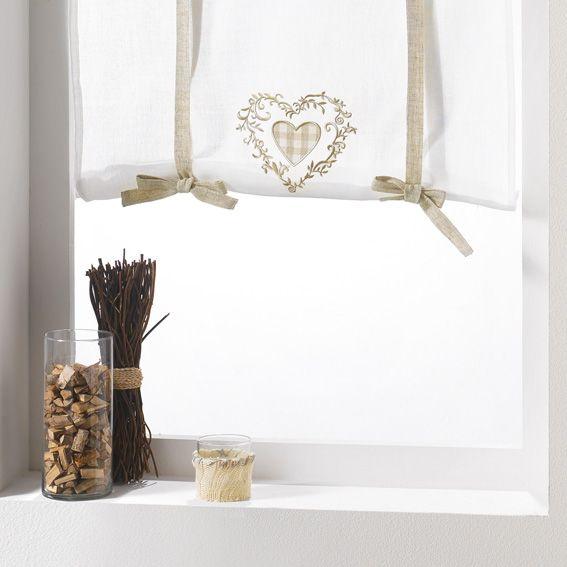 store voilage droit 60 cm agathe lin sable store voilage eminza. Black Bedroom Furniture Sets. Home Design Ideas