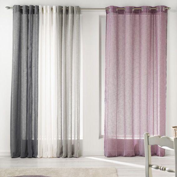 voilage 140 x h240 cm laura taupe voilage eminza. Black Bedroom Furniture Sets. Home Design Ideas