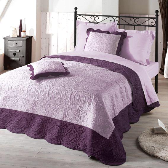 couvre lit 220 x 240 cm matelass emma prune couvre lit boutis eminza. Black Bedroom Furniture Sets. Home Design Ideas