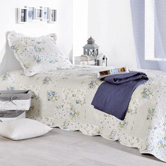 boutis et taie d 39 oreiller 180 x 240 cm julia bleu. Black Bedroom Furniture Sets. Home Design Ideas