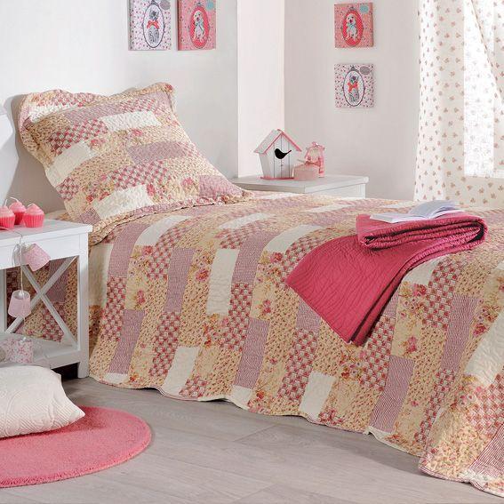 boutis et taies d 39 oreiller 250 x 260 cm lilou rose couvre lit boutis eminza. Black Bedroom Furniture Sets. Home Design Ideas