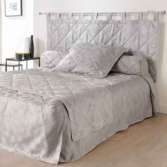 couvre lit 140 x 190 cm blush gris couvre lit boutis eminza. Black Bedroom Furniture Sets. Home Design Ideas