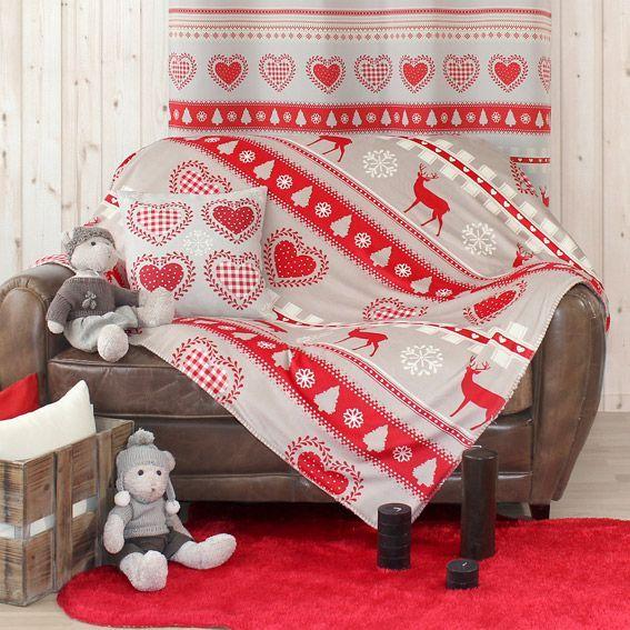 plaid polaire 150 cm montagne rouge plaid cocooning. Black Bedroom Furniture Sets. Home Design Ideas